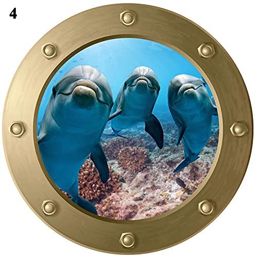 LIZHIOO Vida del mar Tiburón Pescado Submarino Ventana Pegatinas de Pared Frigorífico Baño Decoración del hogar DIY 3D PVC Mural Art Decalos de Animales (Color : 4)