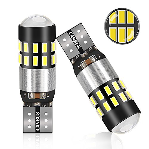POMILE 2PC T10 W5W LED Canbus Bombillas, 5W 550LM 6000K Lámparas de Matrícula, Luz interior, Luces de Posición, Luces del Maletero, Luces de Lectura, 3014 Chipset LED 30-SMD
