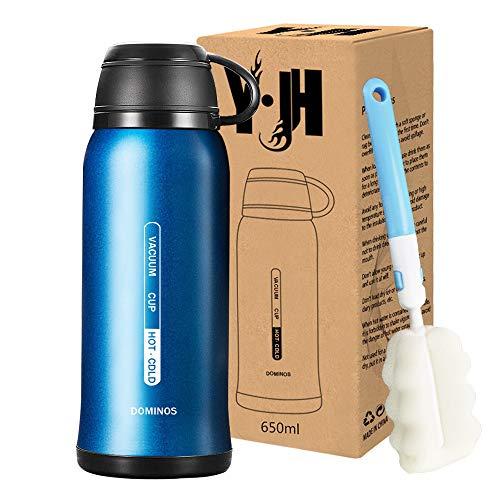 Y·J&H Double Paroi Gourde - Bouteille d'eau en Acier Inoxydable avec Isolation - avec Tasse - Reutilisable sans BPA - Gourdes Eau pour Sport, Randonnée, Bureau, de Plein Air - 650ml Bleu