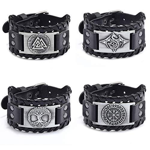 JEWPARK 4PCS Viking Bracelet Set Nordic Scandinavian Talisman-Gothic Bracelet for Celtic Pagan Norse Vegvisir Runic Compass Valknut Celtic Dragon Yggdrasil Amulet Medieval Leather Bracelets S