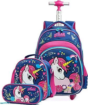 Mochila Unicornio Escolar con Ruedas niña,Estilo Princesa Estudiantes de Primaria Carros para Mochilas Bolsa de Almuerzo Estuche Escolares Equipaje de Viaje Multifuncional(Azul)