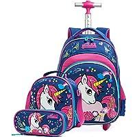 Unicornio Mochila Escolar con Ruedas,Mochilas Escolares Trolley Niña de para Niños,HTgroce Multiusos Infantil Daypacks Mochila Tipo Casual para Viaje - Azul