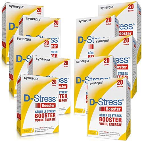 D-Stress Booster Magnésium hautement assimilé, Taurine, Arginine & Vitamines B (Vitamine B6, B5, B3, B2) Origine France Lot de 10