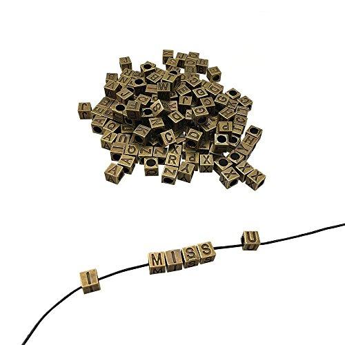 CSPRING 156PCS, 6 Sets of Antique Bronze Metal Alphabet Letter A-Z Cube Loose Beads for Bracelet Necklace Pendant DIY Jewelry Making
