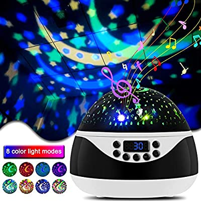 CrazyFire Star Night Lights Projector for Kids, Baby Night Light 360° Rotation with Timer & Music and Remote Control, 8 Light Color Changing Starry Projector Light for Kids Baby Bedroom Nursery Decor