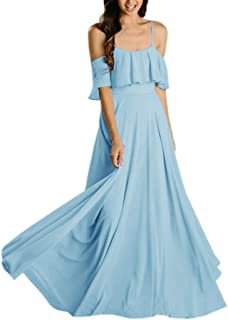Jonlyc Women's A-Line Spaghetti Straps Chiffon Long Bridesmaid Dresses