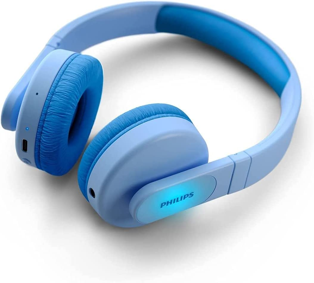 Philips K4206 Kids Wireless On-Ear Headphones, Bluetooth + Cable Connection, 85dB Limit for Safer Hearing, up to 28 Hours Play time, Parental Controls Available via Philips Headphones app (TAK4206BL)
