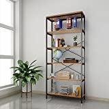 shaofu 5-Tier Industrial Style Bookshelf and Bookcase, Vintage 5-Shelf Industrial Bookshelf Furniture (US Stock) (5 - Tiers)