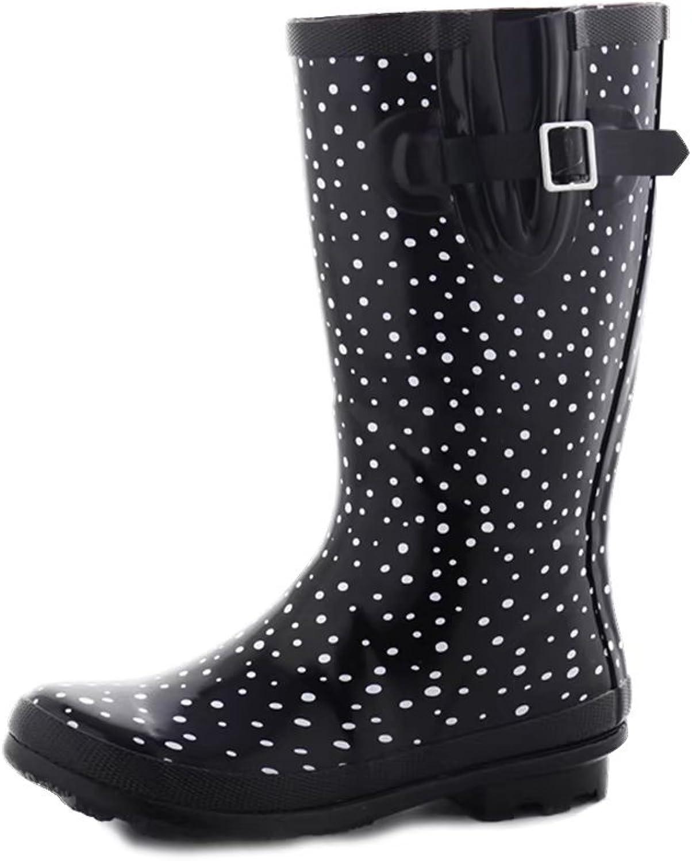 Womens Buckle Side Zipper Rain and Garden Boots,Waterproof, Black White Polka Dot Print