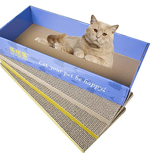 Leotart - 3 almohadillas para rascar gatos, onduladas curvadas para gatos, almohadillas para rascadores de gatos, reversibles, para gatos y gatos con hierba orgánica