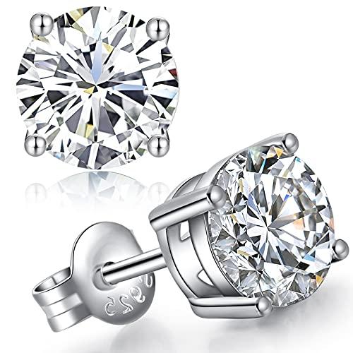jiamiaoi Pendientes Hombre Plata,Pendientes Plata de Ley 925,Pendientes Mujer,Pendientes Circonita Plata para Mujer,Pendientes de Diamantes,Redondo de 4mm