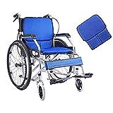 AOLI Silla de ruedas plegable pequeño peso ligero, ultra-ligero de la carretilla portátil silla de ruedas, ancianos discapacitados multiuso silla de ruedas, silla de ruedas autopropulsada, Black1,blu