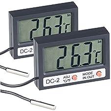 infactory Digitales Aquarium-Thermometer mit Uhrzeit und LCD-Display