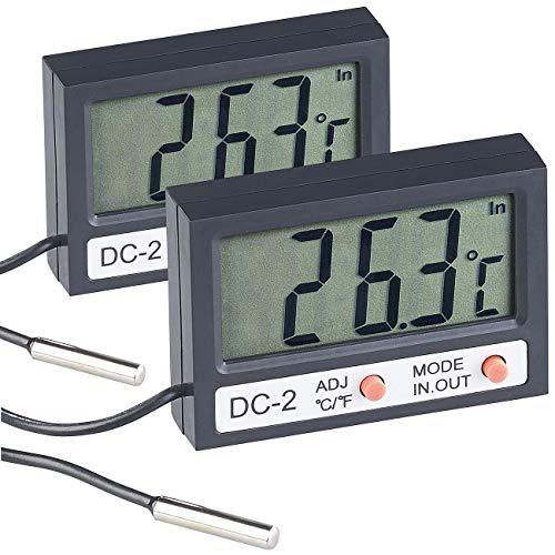 infactory Aquarien-Thermometer: 2er Pack Digitales Aquarium-Thermometer mit Uhrzeit und LCD-Display (LCD-Thermometer Aquarien)