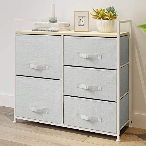 Redd Royal White Chest of Drawers Tower with 5 Non-Woven Fabric Drawers and Wooden Top, Storage Organizer Wardrobe Cabinet Unit for Bedroom Living Room Closet Hallway (Light Grey, 5-Drawers)