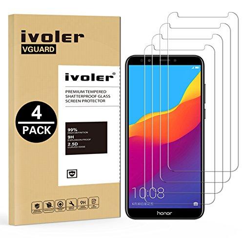 iVoler [4 Stücke] Panzerglas Schutzfolie für Huawei Honor 7C / Huawei Y7 2018 / Huawei Y7 Prime 2018 / Huawei Y7 Pro 2018, 9H Härte, Anti- Kratzer, Bläschenfrei, [2.5D R&e Kante]