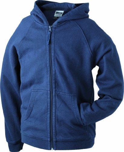 James & Nicholson Jungen Hooded Jacket Junior Sweatshirt, Blau (Navy), XX-Large (Herstellergröße: XXL (158/164))