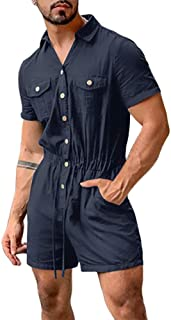 Bbalizko Mens Rompers Jumpsuits Cotton Button Down Short Sleeve One Piece Drawstring Shorts Coverall Tracksuits with Pockets