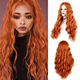 Orange Wig for Women 28 Inches Long Natural Wave Wig Middle Part Synthetic Hair Wig For Cosplay Daily Use Wig(Orange)