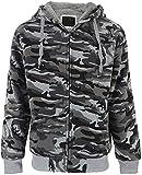 SwissWell - Chaqueta de camuflaje con capucha y cremallera para hombre, interior de forro polar, chaqueta para exteriores, Hombre, gris oscuro, xxx-large