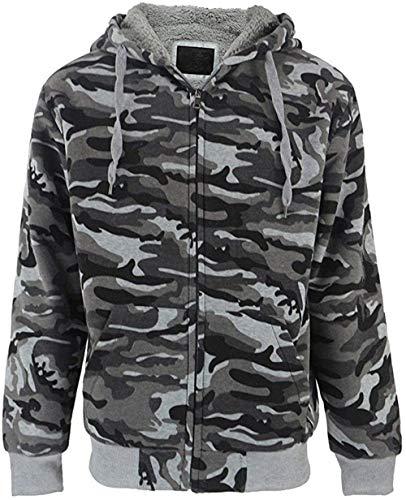 SwissWell - Chaqueta de camuflaje con capucha y cremallera para hombre, interior de forro polar, chaqueta para exteriores, Hombre, gris oscuro, extra-large
