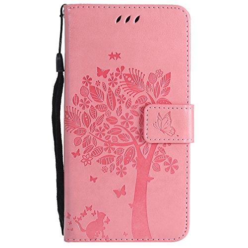 Tosim [Moto C Plus] Hülle Leder, Klapphülle mit Kartenfach Brieftasche Lederhülle Stossfest Handy Hülle Klappbar für Motorola Moto C Plus - TOKTU55455 Rosa