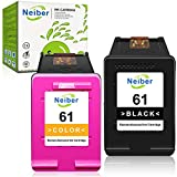 Neiber Remanufactured Ink Cartridge Replacement for HP 61 HP61 ( 1 Black, 1 Tri-Color ) Work with Envy 4500 4502 5530 DeskJet 2512 1512 2542 2540 2544 3000 3052a 1055 3051a 2548 OfficeJet 4630 Printer
