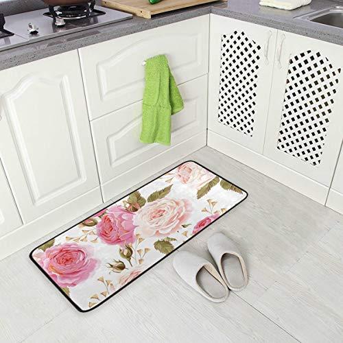 Hunihuni Küchenmatte mit Blumenmuster, rutschfest, für Eingangstür, Küche, Innendekoration, 99 x 51 cm