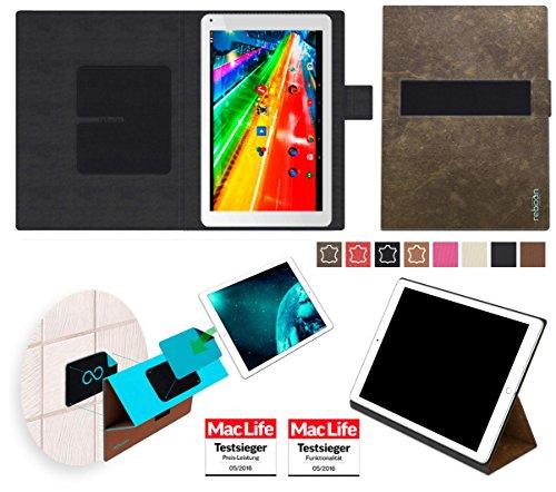 reboon Hülle für Archos 101 Platinum Tasche Cover Case Bumper | in Braun Wildleder | Testsieger