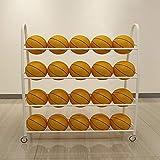 TMGY Basketball Racks for Balls with Wheels,Iron Basketball Display Stand Equipment,Ball Cart Ball Racks for Garage Ball Holder,Volleyball Sports Ball Storage Ball Organizer(White,4-Tier,35 Balls)