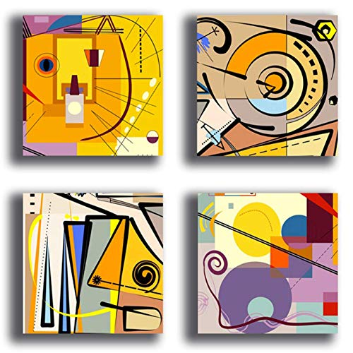 Quadri Moderni stile KANDINSKY giallo viola 4 pezzi 30x30 cm Stampa Tela CANVAS Arredamento Arte Astratto XXL Arredo per soggiorno salotto camera da letto cucina ufficio bar ristorante