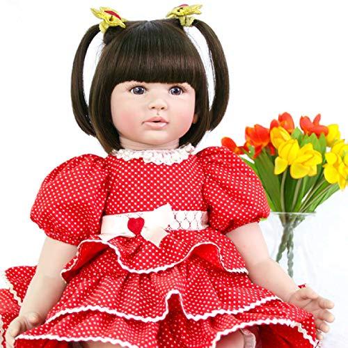 Pursue Baby Muñeca Realista para Niños Pequeños Chloe Hecho A Mano Ponderada Real Mirada de 24 Pulgadas Muñeca Reborn con Suave Cuerpo Conjunto de Regalo para Niños