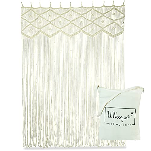 """Handwoven Boho Macrame Curtain Panel 48x80"""" Ideal Room Divider, Curtains for Doors, Doorway, Windows – Great for Privacy & Wall Hanging Backdrop"""