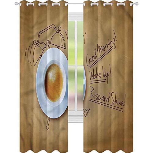 jinguizi Cortina de ventana opaca reloj despertador café con citas W42 x L72 para decoración de niños cortinas personalizadas