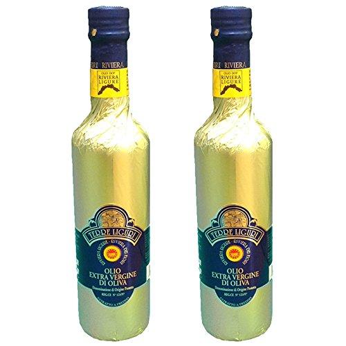 Olio Riviera Ligure DOP extra vergine di olive 100% Taggiasche, lt 0,50 x 2 fasciato oro