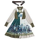 W.Z.H.H.H Traje de Criada Vestido clásico Lolita Princesa Vestido Verde Victoriano Vestido Mujer Kawaii Ropa Dulce Lolita Vestido Manto Chicas (Color : Full Set, Size : XXL)