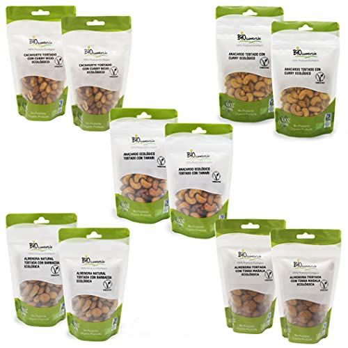 BIOCOMERCIO   Pack mix de 5   Anacardos, almendras y cacahuetes   1 kilo   10 bolsas x 100 gr   Sabores curry rojo,...