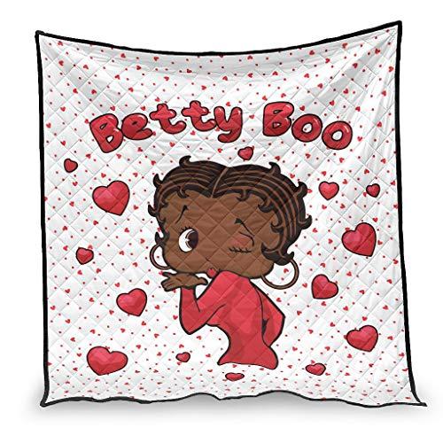 YshChemiy Betty Boop - Colcha de algodón para cama (100 x 150 cm), color blanco