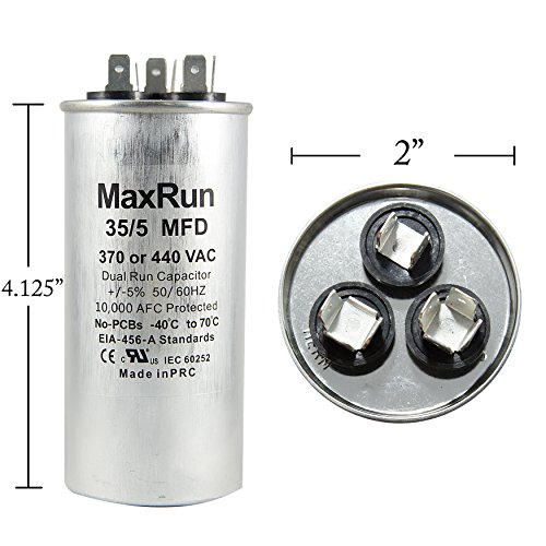 MAXRUN 35+5 MFD uf 370 or 440 Volt VAC Round Dual Run Capacitor for Air Conditioner or Heat Pump - Runs AC Motor and Fan – 5 Year Warranty
