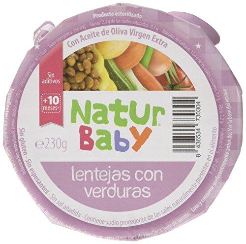 Natur Baby Puré Natural de Lentejas con Verdura para Bebé - Paquete de 12 x 230 gr - Total: 2760 gr