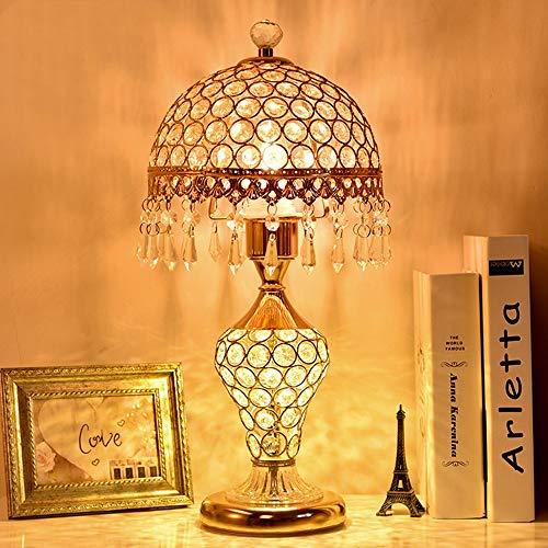 HtapsG Lámpara Escritorio Lámpara Cristal lámpara lámpara Dormitorio Noche de Cama Creativa cálida Boda Sala de Estar Lujo Moderno Minimalista lámpara de Mesa (Color : Gold)