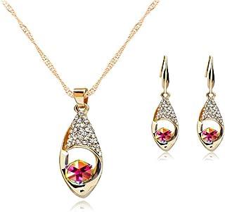 Flyme Necklace Earrings Tears of Angels Style Diamond Crystal Elegant Women Girls Jewellery Set of Crystal Pendant Necklace+Earrings (Colorful)