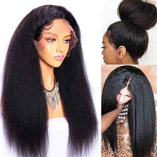 MsGem avant de lacet perruques de cheveux humains pour les femmes noires 22 pouces mongol yaki cheveux raides avant de lacet perruque avec des cheveux