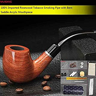 High Quality | Tobacco Pipes & Accessories | 10 Tools Kit Smoking Pipe 9mm Filter Bubinga kevazingo Wood Tobacco Pipe for Beginners Collection or Gift for Men | by HUNACA | 1 PCs