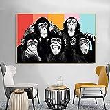 Lienzo Arte De La Pared Divertidos Animales Modernos Monos Graffiti Pinturas En Lienzo Carteles E Impresiones ImáGenes HabitacióN De Los NiñOs DecoracióN Del Hogar 70x110cm Sin Marco
