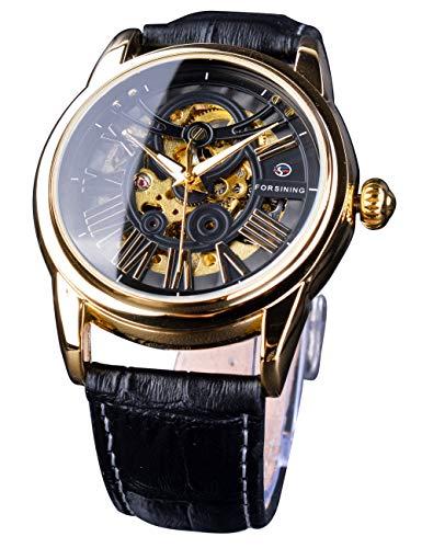 Forsining Hombres mecánicos Reloj de Pulsera Transparente Esqueleto Dial Romano Royal diseño