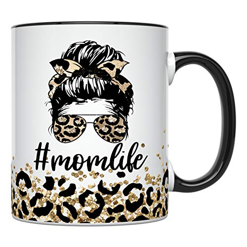 YouNique Designs Mom Life, Mom Mug, 11 Ounces, Unique Mothers Day Coffee Mug from Daughter and Son, Best Mom Ever Mug, Leopard Print Mom Coffee Cup, Gifts for Mom, Mom Mugs for Women (Black Handle)