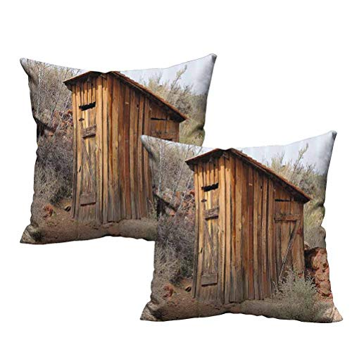 2 Piece Pillow Cover Set Old Wooden Shed in The Outback Country Side with Olive Trees 22'x22',Various Print Fashion Patterns