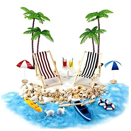 YepYes Casa de muñecas en Miniatura Accesorios Beach Decoración del Paisaje de la Playa Micro con tumbonas Parasoles de la Palmera para el Verano 18PCS