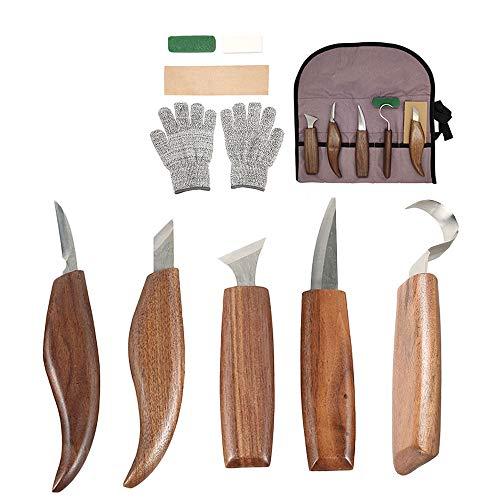 Holz-Schnitzwerkzeug Set,10 teiliges Holzschnitzwerkzeugsatz, Professional Holzschnitzerei Messer Werkzeuge ideales Schnitzmesser-Set, für Anfänger/Profis mit Schnittfeste Handschuhe